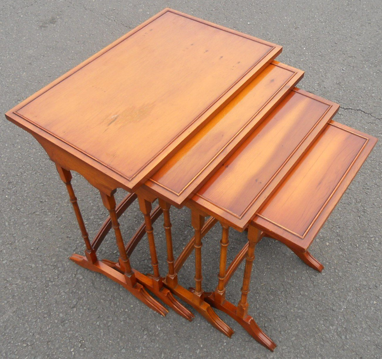 Yew Glass Topped Coffee Table: Nest Of Four Yew Wood Coffee Tables By Bradley